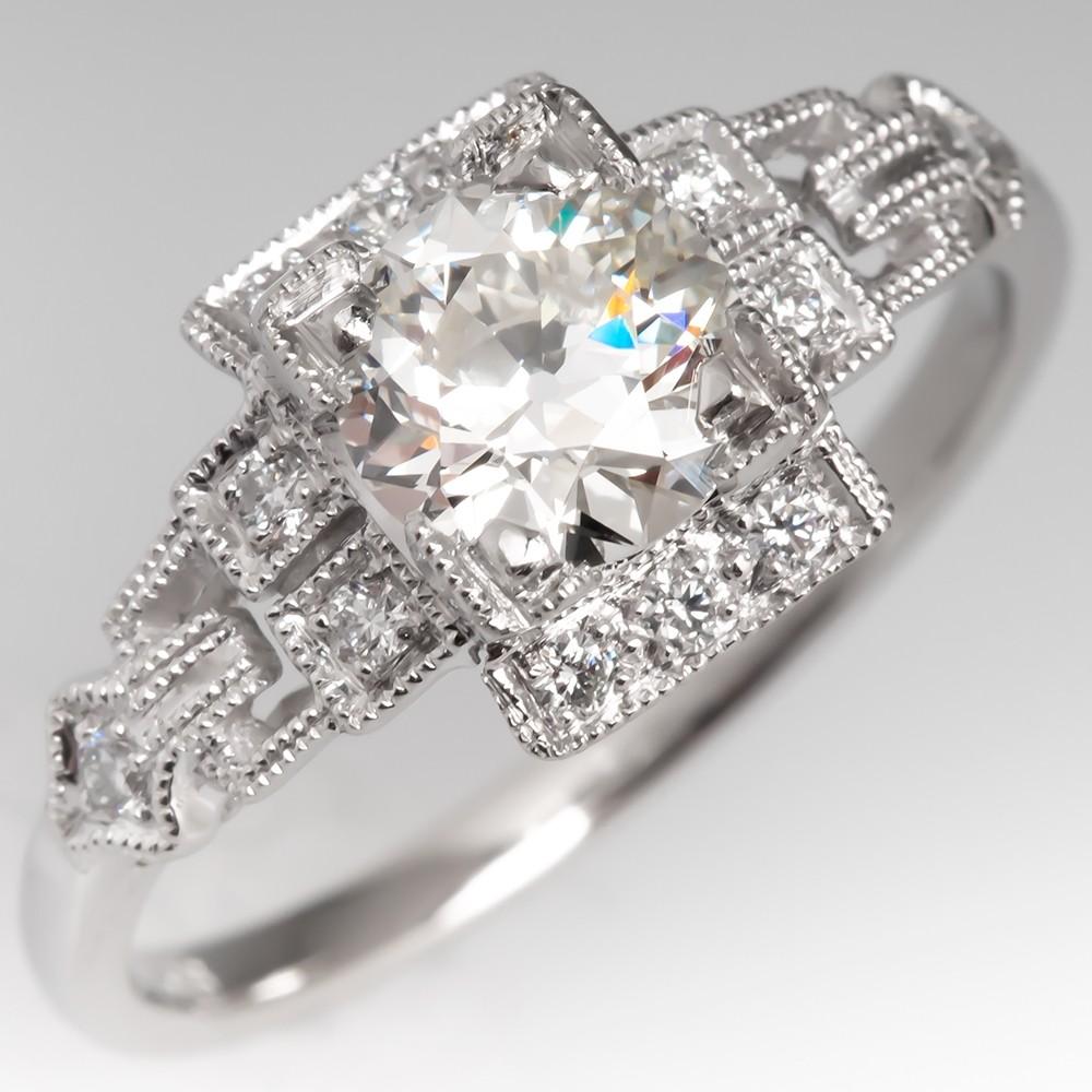 Art Deco Style Platinum Old European Cut Diamond Ring