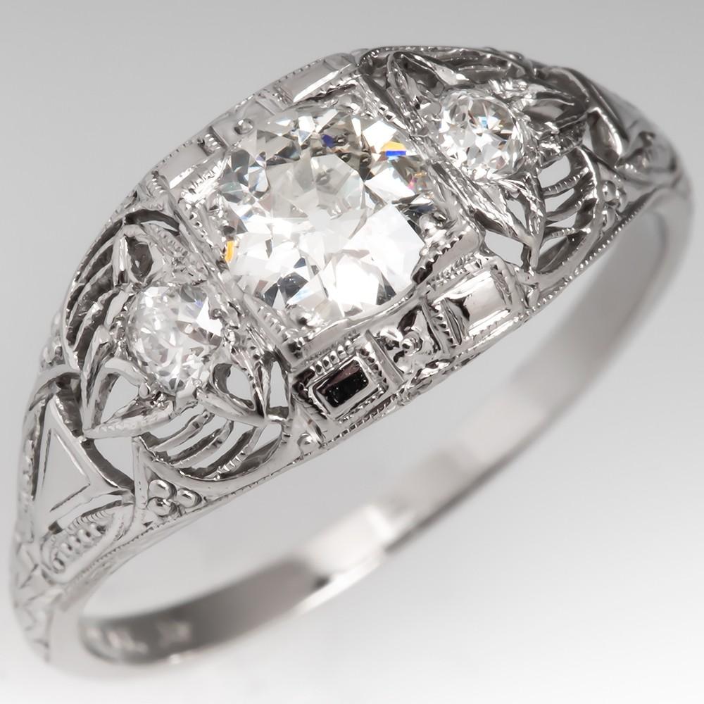 Edwardian Era 1920's Old European Cut Diamond Ring Platinum Filigree