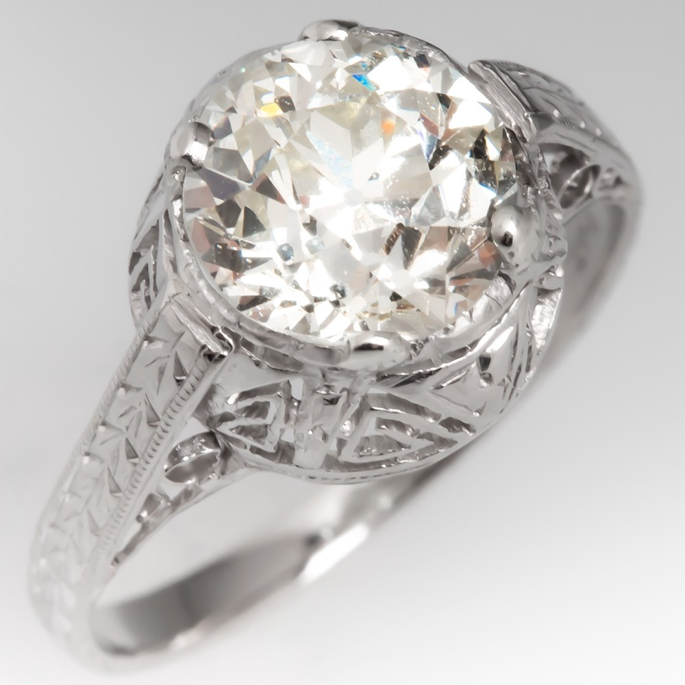 Antique Diamond Solitaire Engagement Ring 1920's GIA 1.70Ct