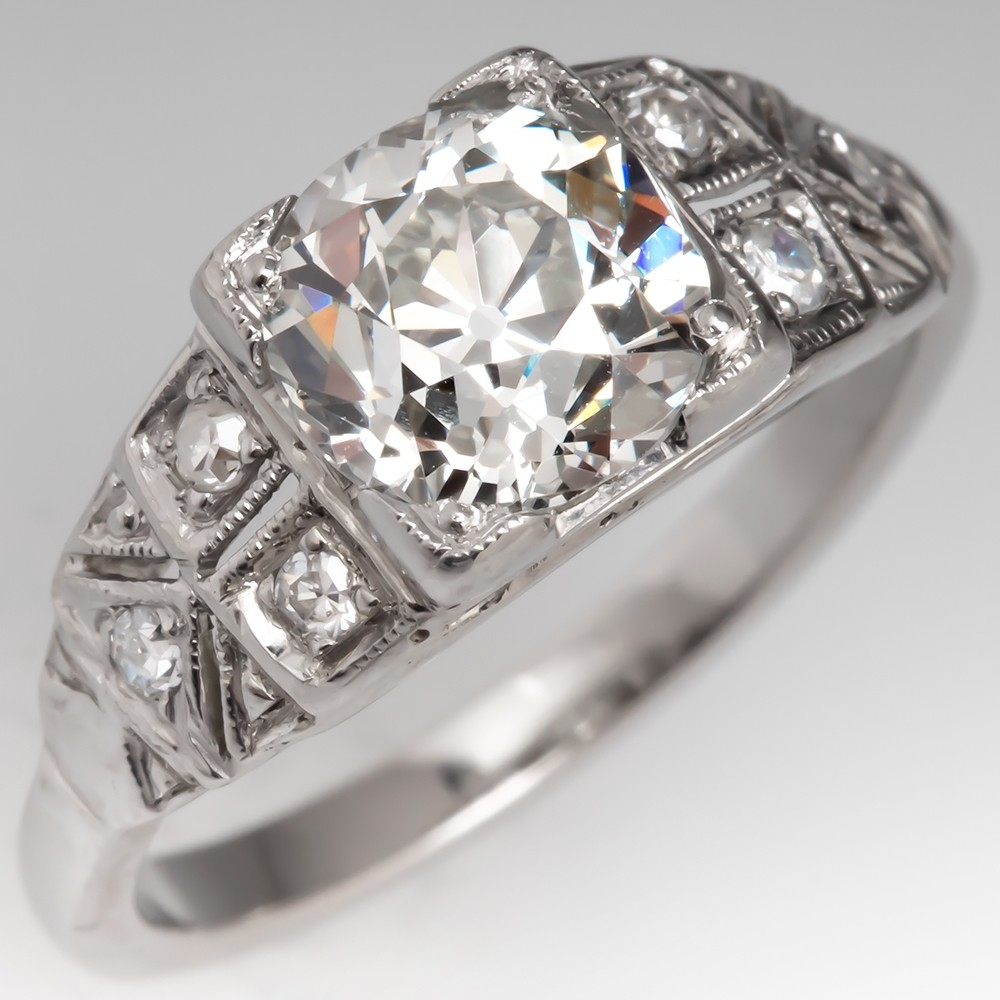 Vintage Platinum Old Euro Cut Diamond Engagement Ring GIA 1.62Ct