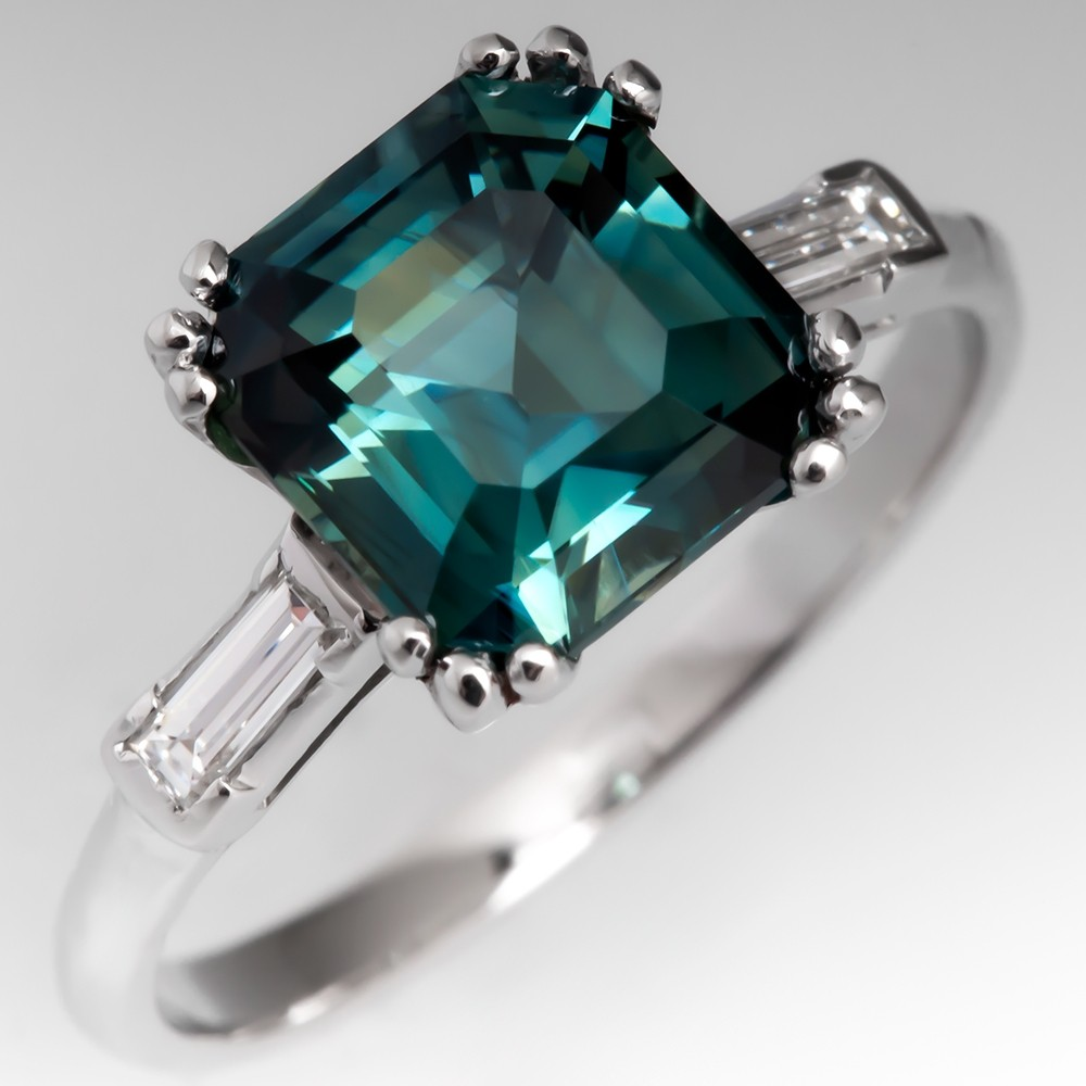 No Heat 3 Carat Teal Sapphire Ring w/ Baguette Diamonds Platinum