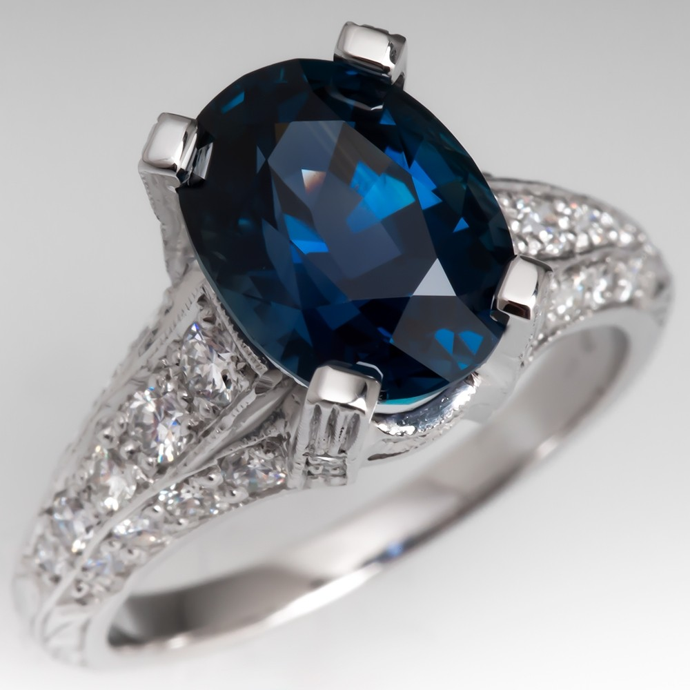 4 Carat Vivid Teal Sapphire Ring in Ornate Platinum Diamond Ring