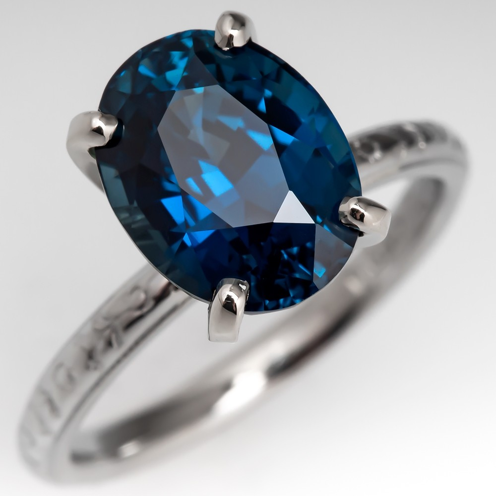 5 Carat Oval Cut Green Blue Sapphire Solitaire w/ Ornate 18K Band