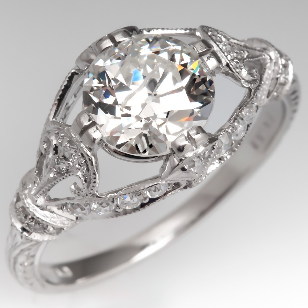 Beautiful Ornate Old Euro Diamond Engagement Ring Platinum Sophia D Design