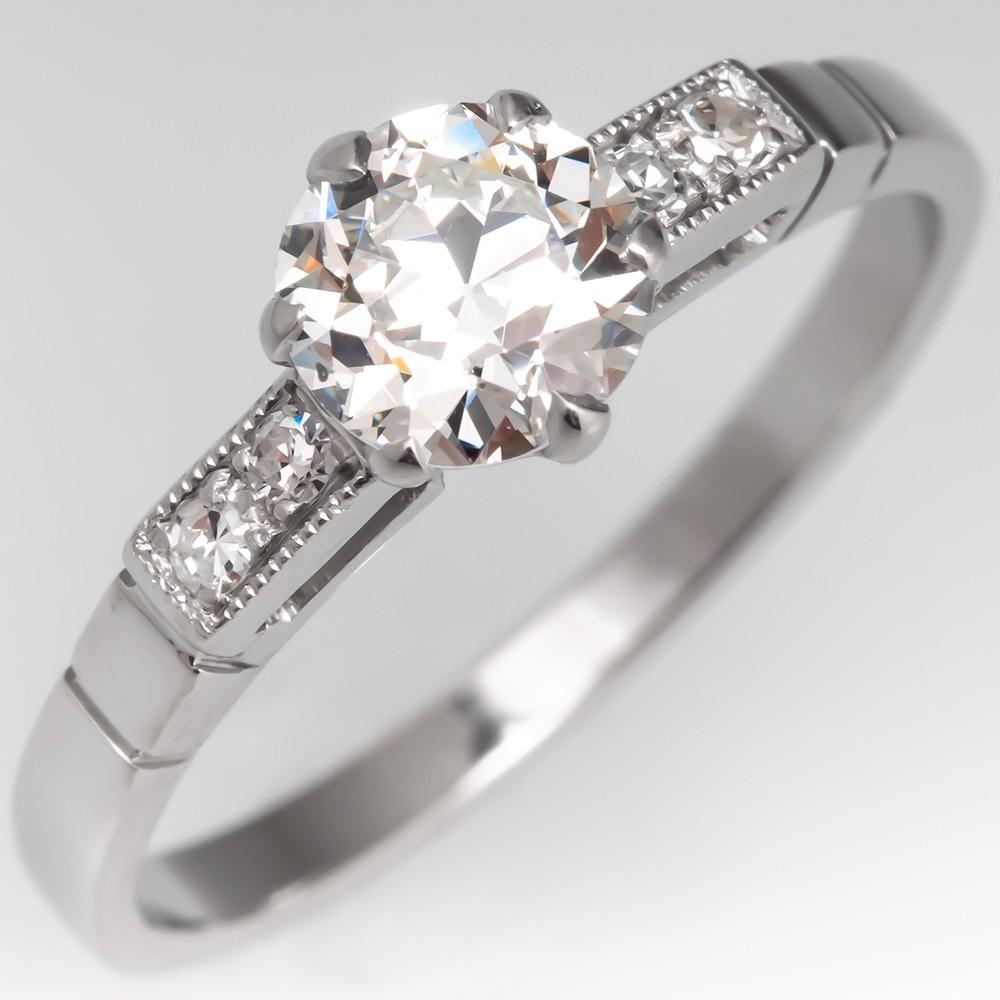 Elegant Antique 1930's Diamond Engagement Ring Platinum GIA