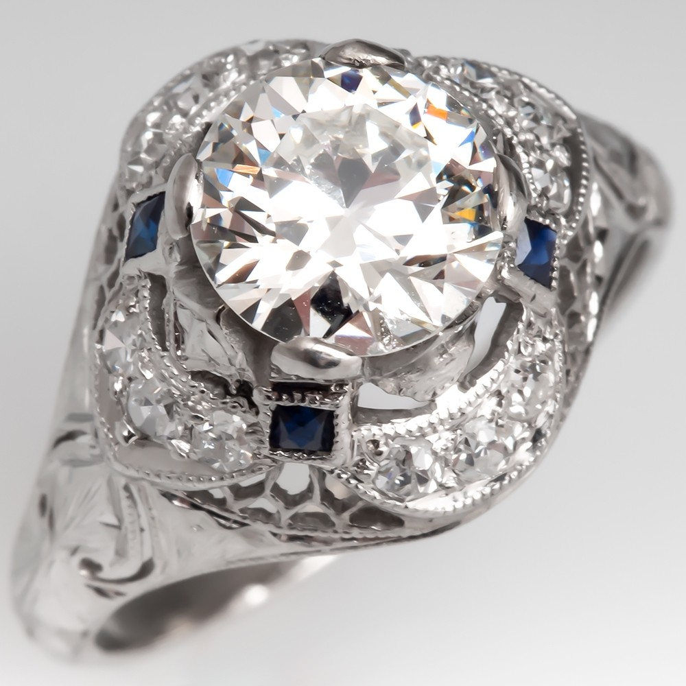 1920's Antique Domed Diamond Engagement Ring w/ Sapphire Accents Platinum GIA