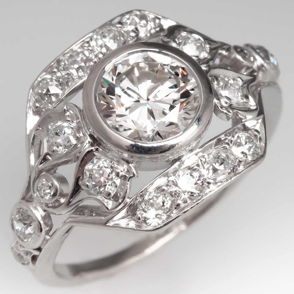 1920's Antique Mounting w/ Bezel Set Round Brilliant Cut Diamond