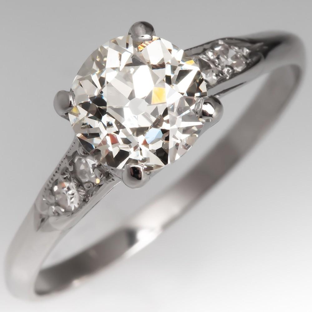 Classic Vintage Diamond Engagement Ring Old Euro Platinum