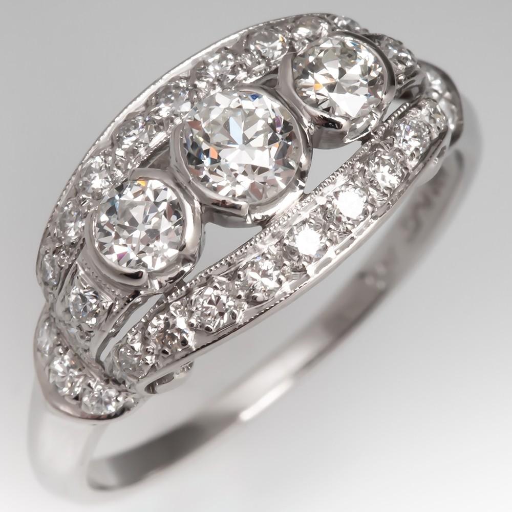 Vintage Three Stone Diamond Anniversary Ring Platinum