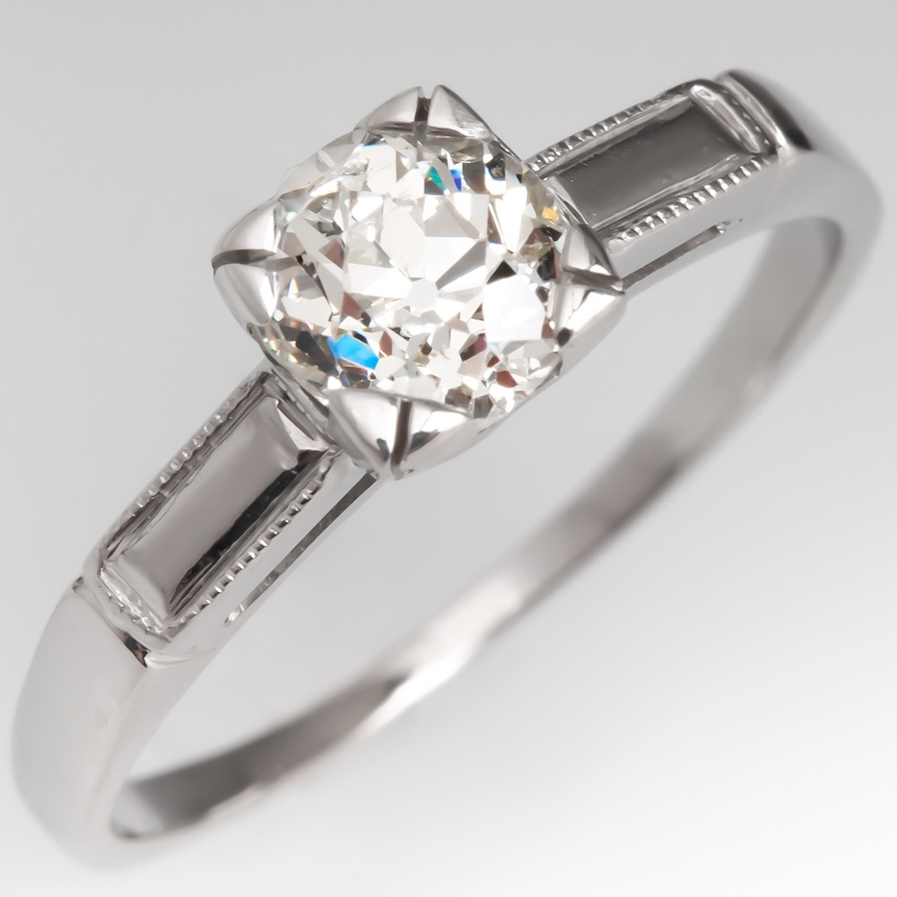 1930's Antique Diamond Solitaire Engagement Ring Platinum