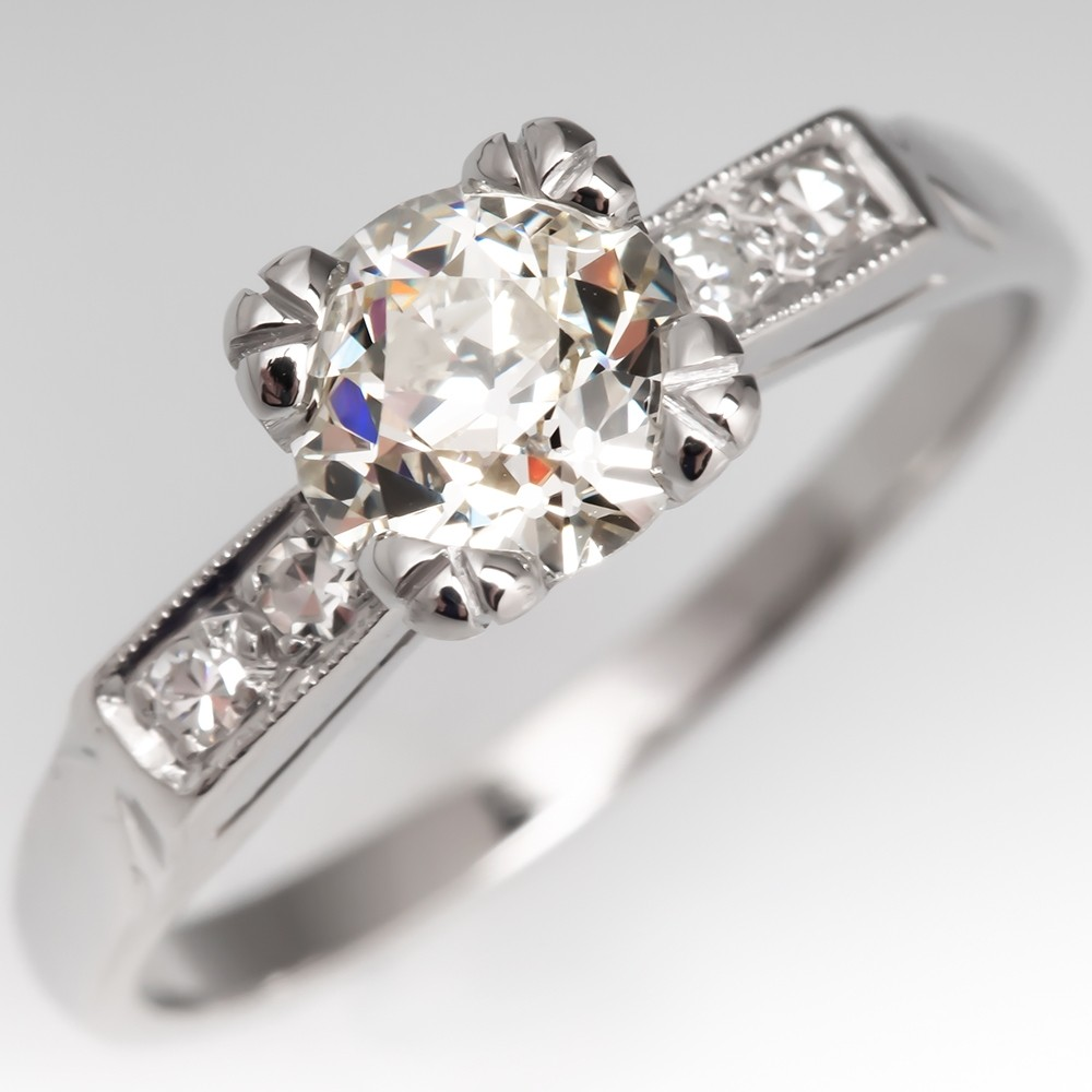 Old Euro Diamond Classic Vintage Engagement Ring Platinum