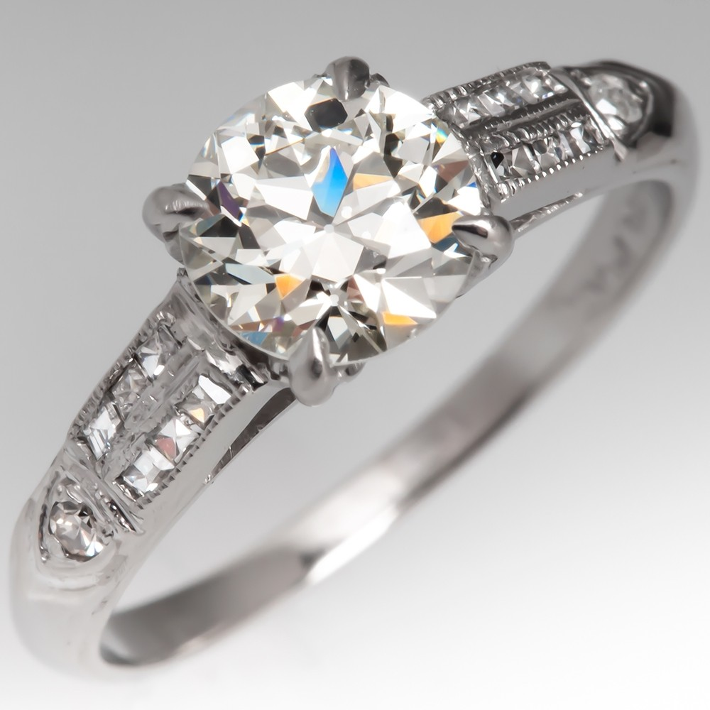 .91 Carat Old Euro Diamond Antique Engagement Ring Platinum