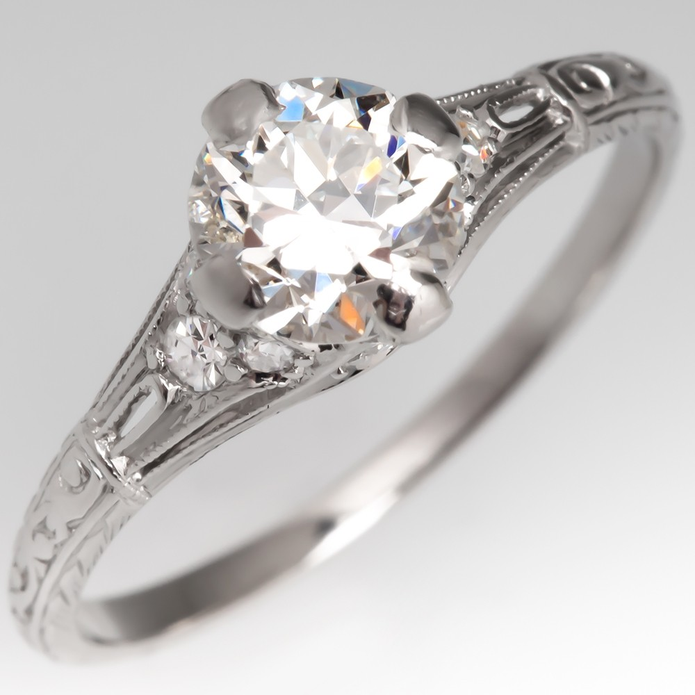 Vintage Filigree Engagement Ring Transitional Cut Diamond Platinum