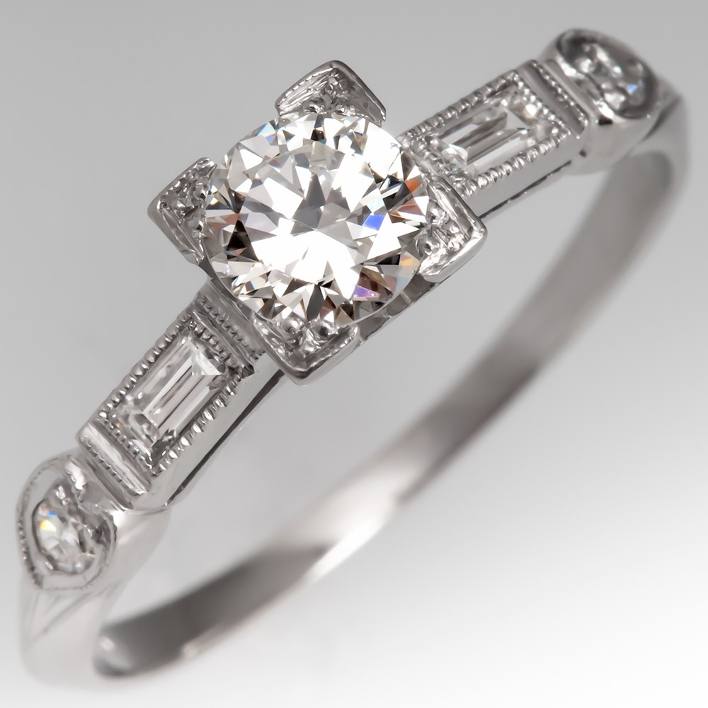 Detailed 1950's Vintage Diamond Engagement Ring Platinum