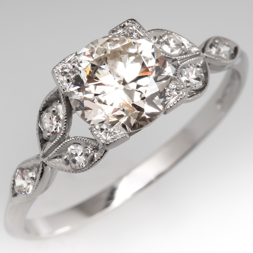 Transitional Cut Diamond Floral Vintage Engagement Ring Platinum