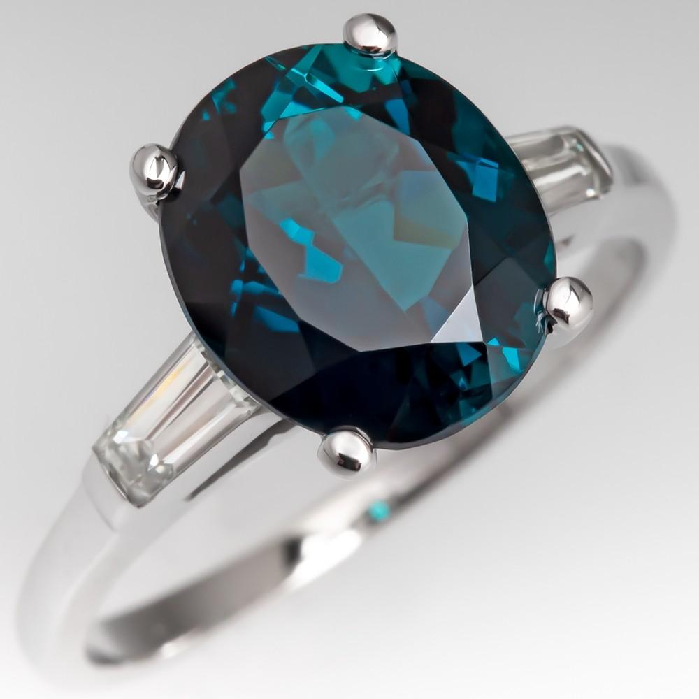 2.8 Carat Blue-Green Tourmaline Engagement Ring w/ Diamonds 14K