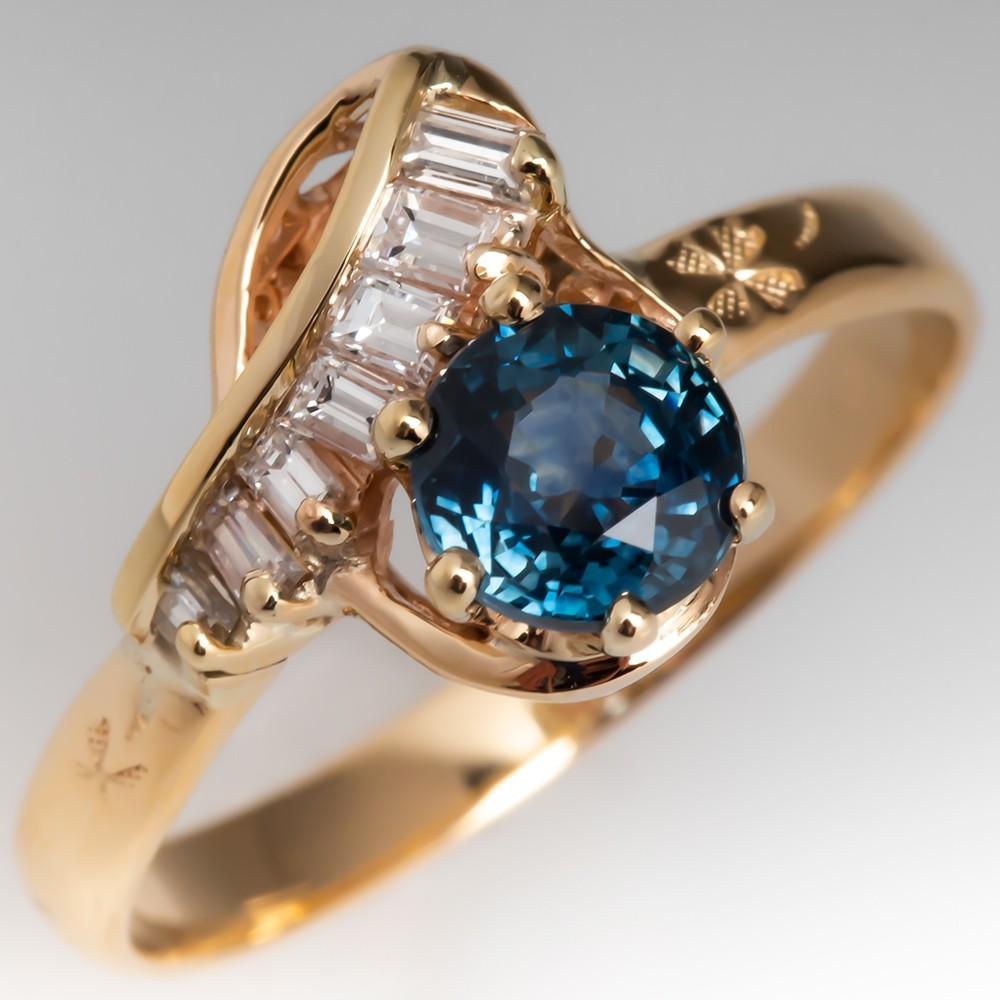 Untreated Montana Sapphire & Diamond Vintage Swirl Ring 14K Gold