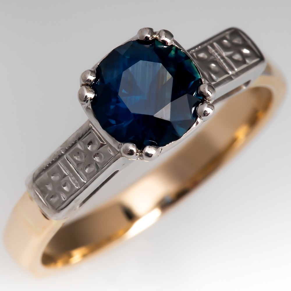 No Heat Dark Blue Green Sapphire Engagement Ring 1940's Mount