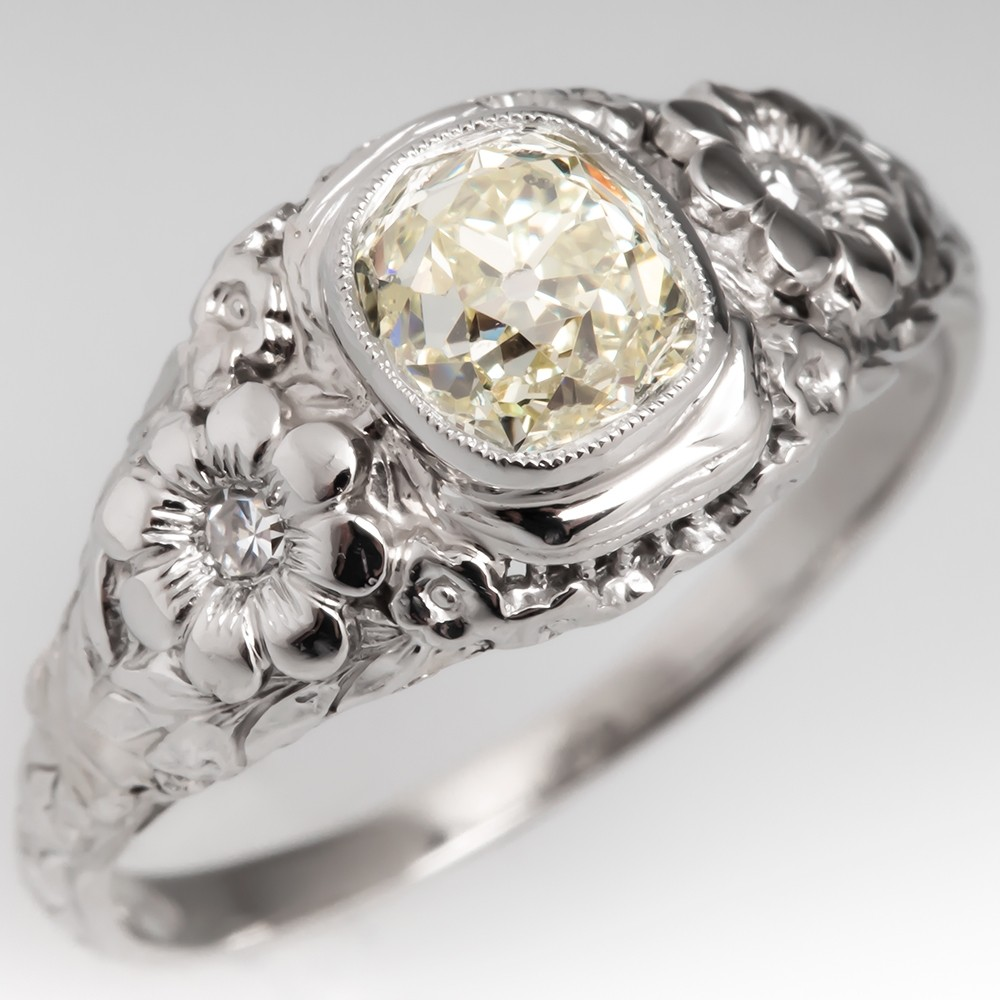 Antique Floral Old Mine Cut Diamond Engagement Ring Platinum