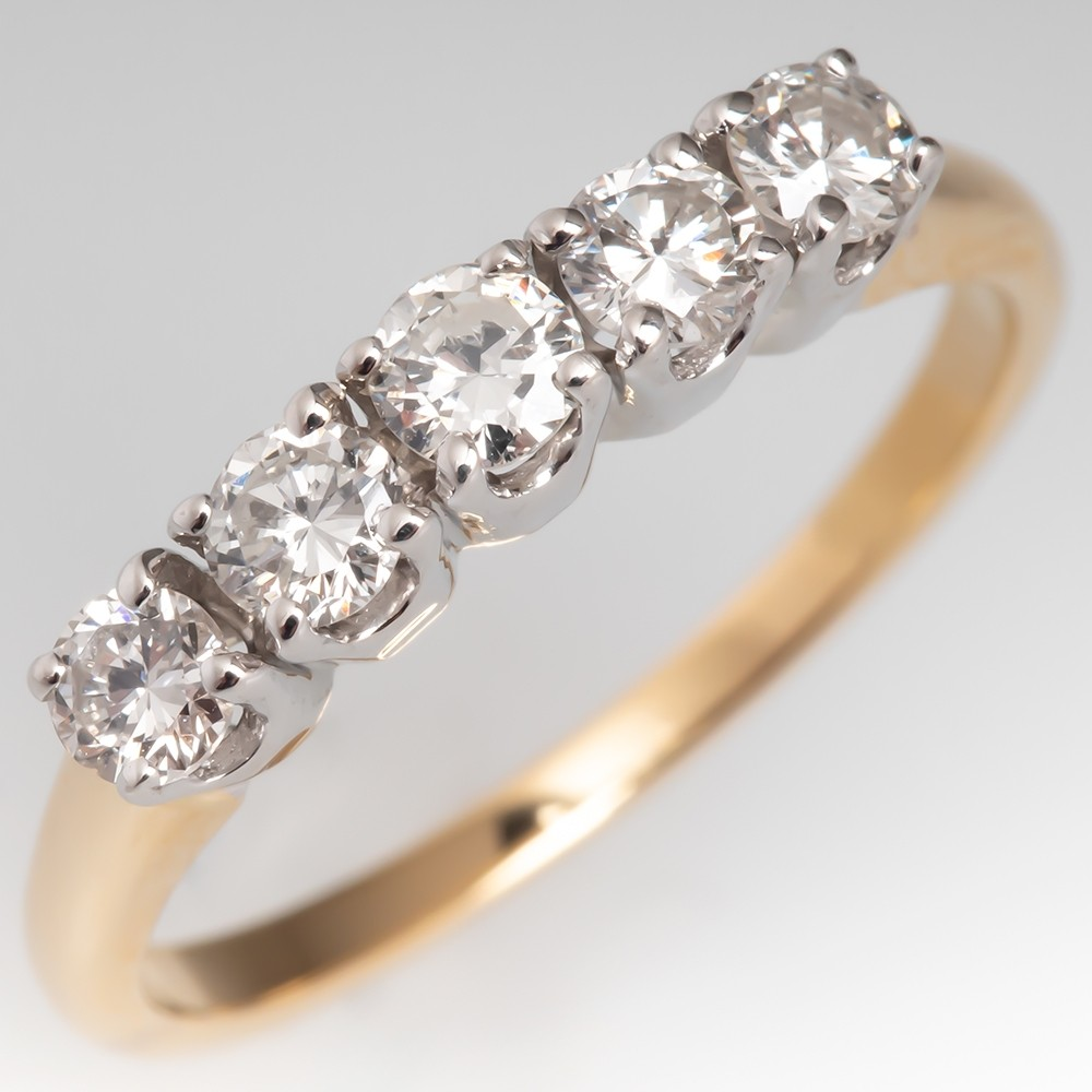 Vintage Five Stone Round Brilliant Diamond Anniversary Ring 14K Gold