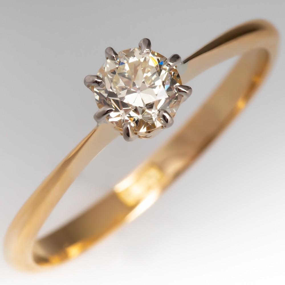 Transitional Cut Diamond 6-Prong Solitaire Engagement Ring 18K Gold