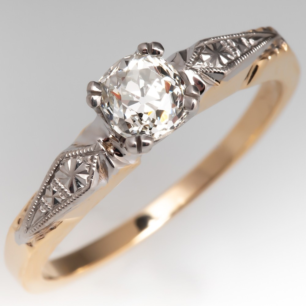 Detailed 1/2 Carat Antique Old Mine Cut Diamond Engagement Ring 14K