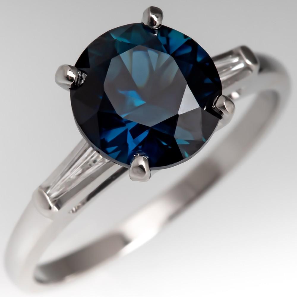 Untreated 2.6 Carat Dark Blue Green Sapphire Engagement Ring in Platinum
