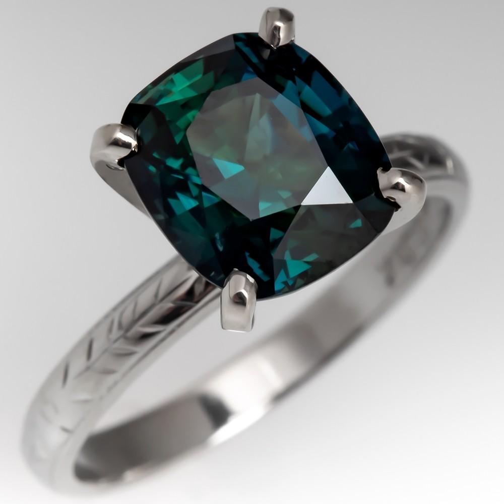 4.3 Carat Peacock Sapphire Engagement Ring Vintage Belais Wedding Band