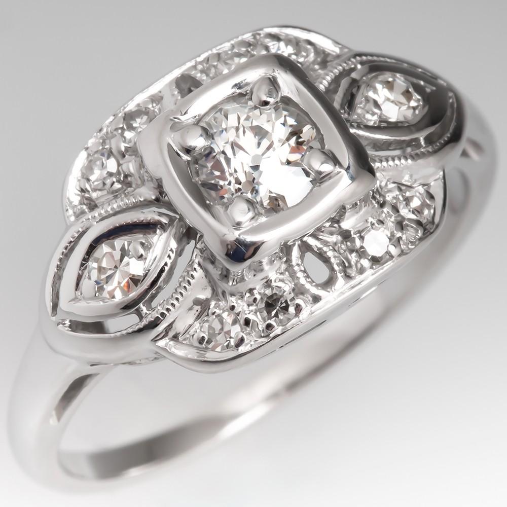 Old European Cut Diamond 1940's Engagement Ring