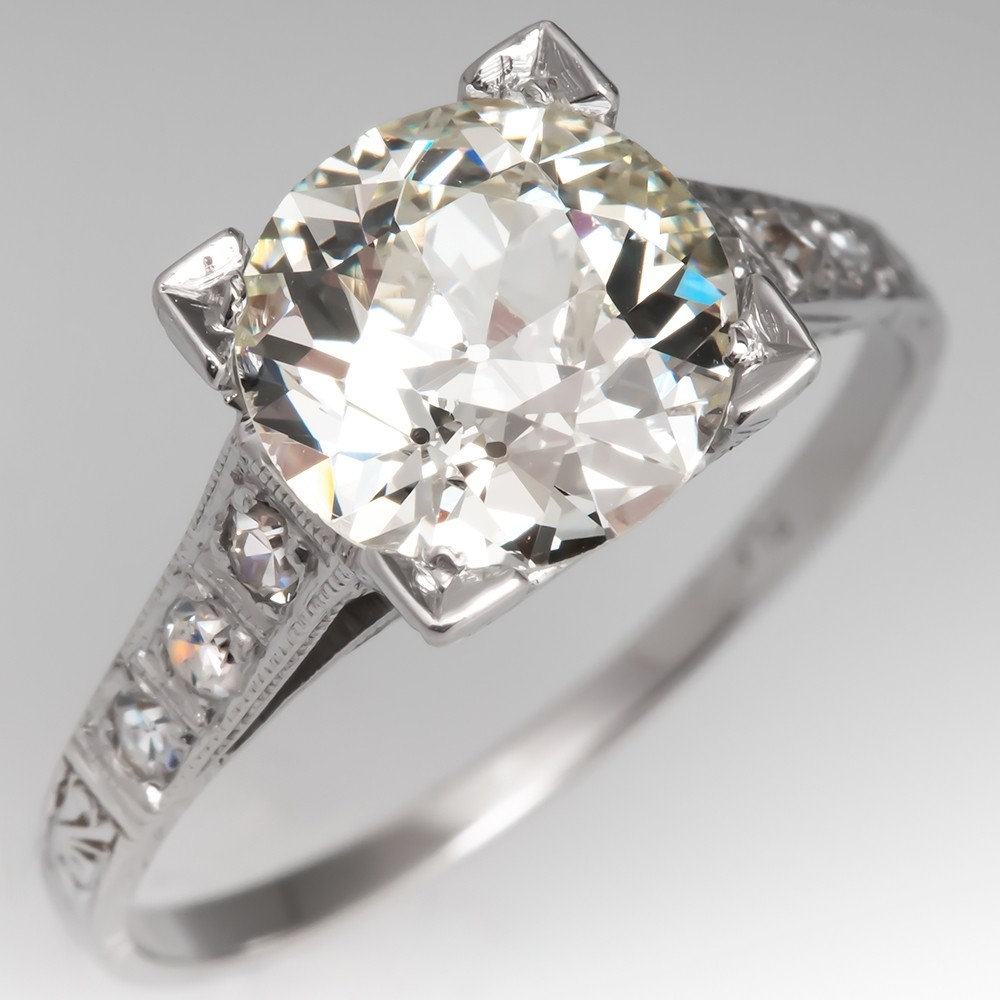Engraved 2 Carat Old Euro Diamond 1920's Engagement Ring Platinum