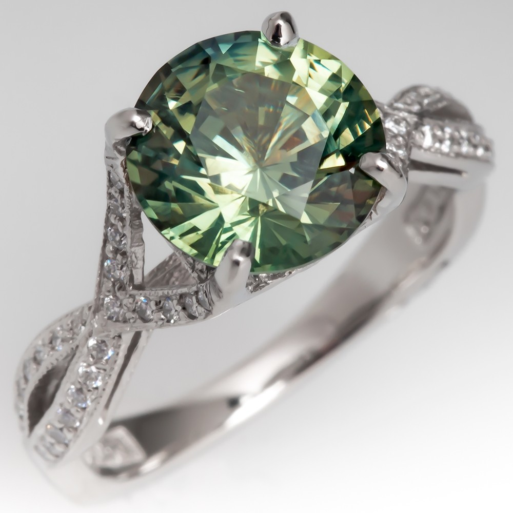 No Heat 3 Carat Green Sapphire Tacori Engagement Ring Platinum