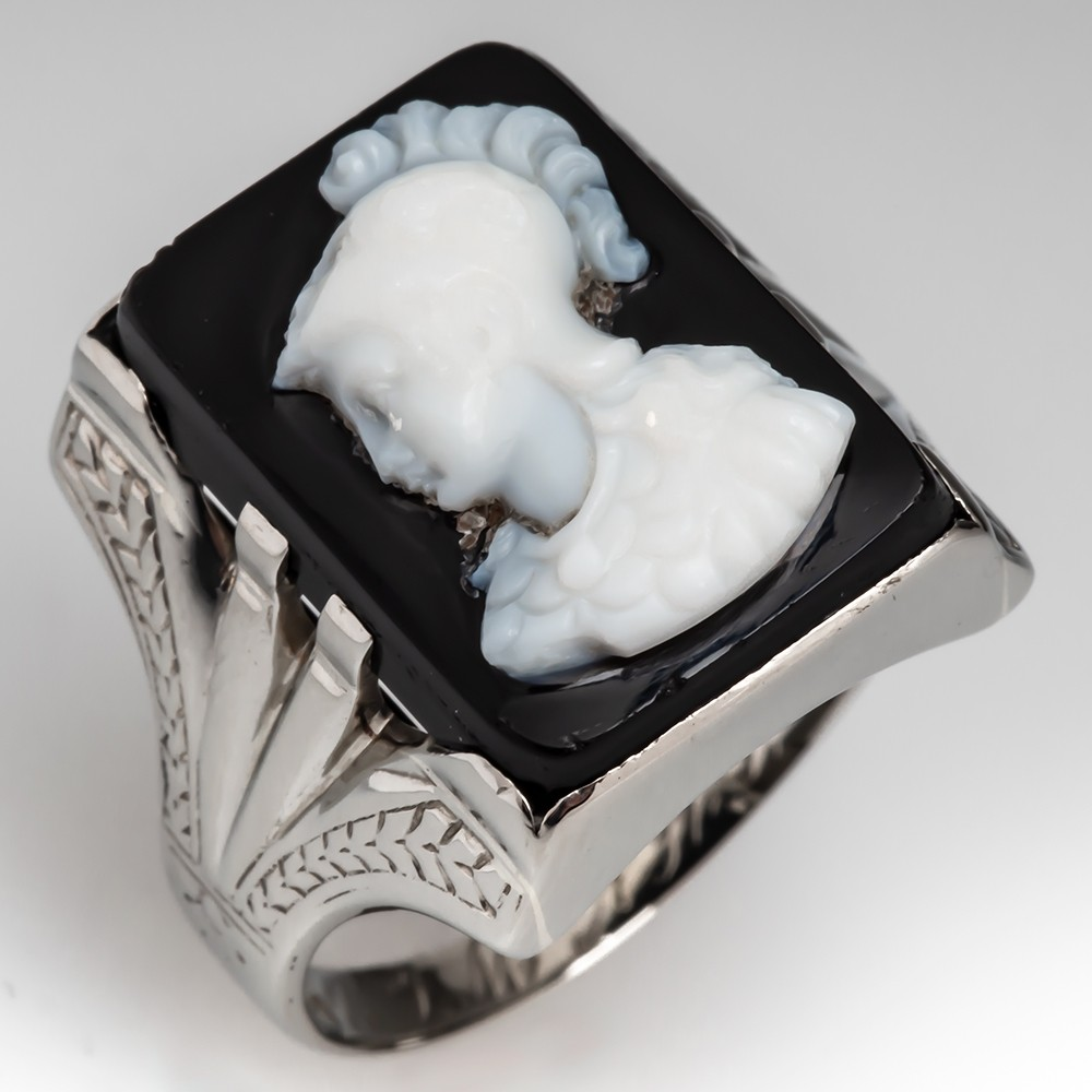 Men's Carved Black & White Cameo 14K White Gold Ring