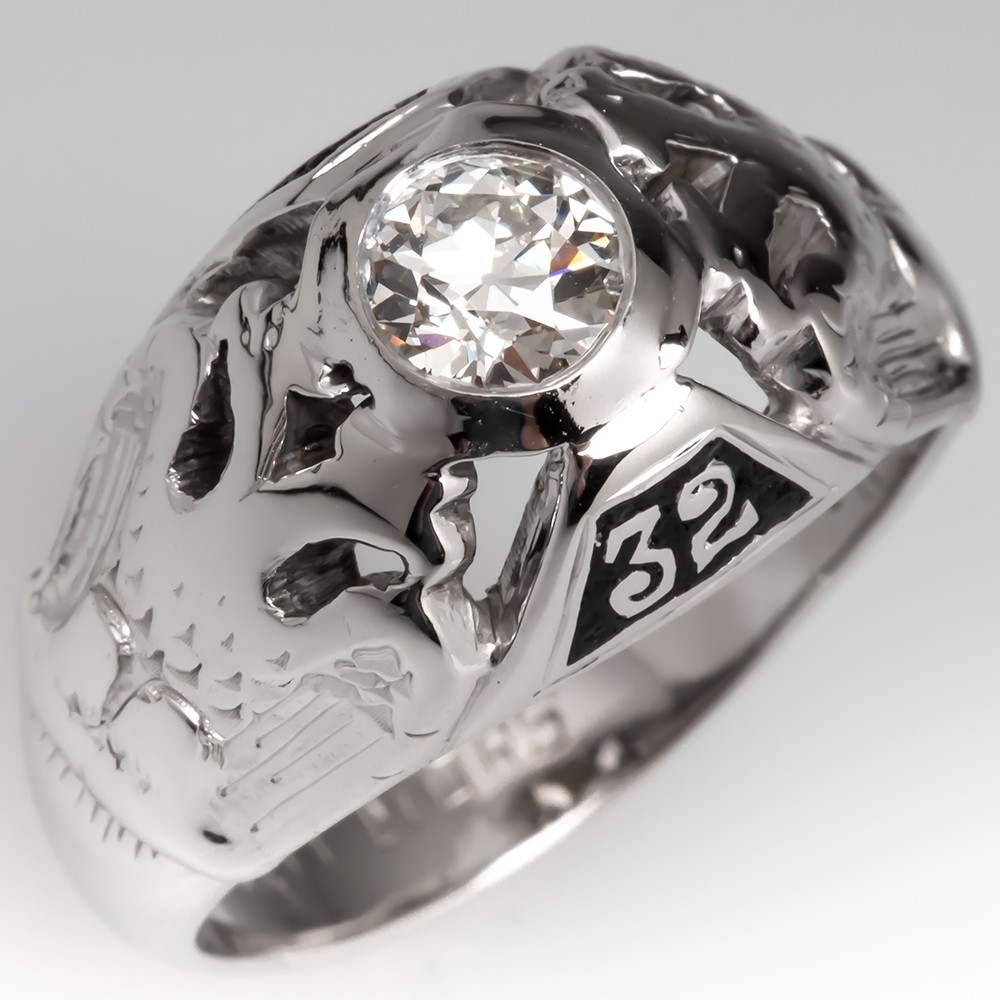 14K White Gold Mens Masonic Diamond Ring 32nd Degree