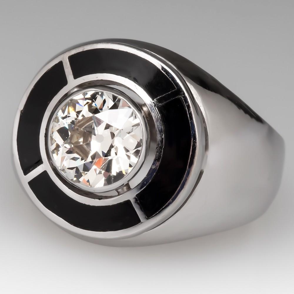 Mens Vintage 2 Carat Old Euro Diamond Ring w/ Black Enamel Details 14K