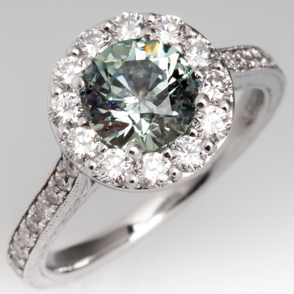 No Heat Montana Sapphire & Diamond Halo Engagement Ring