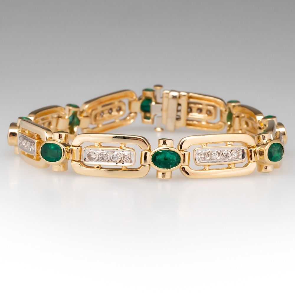 Emerald & Diamond Fancy Link Bracelet 14K Yellow Gold