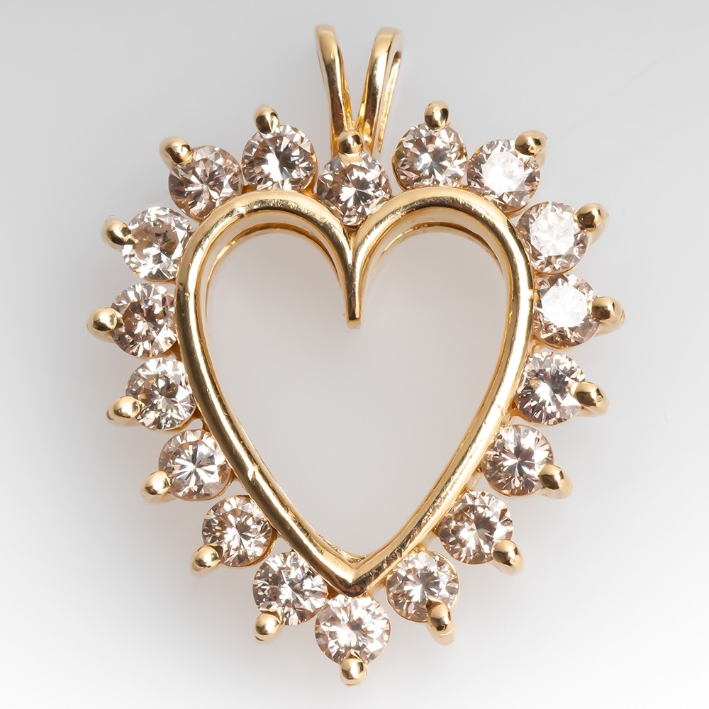 Yellow Gold & Round Brilliant Diamond Heart Pendant