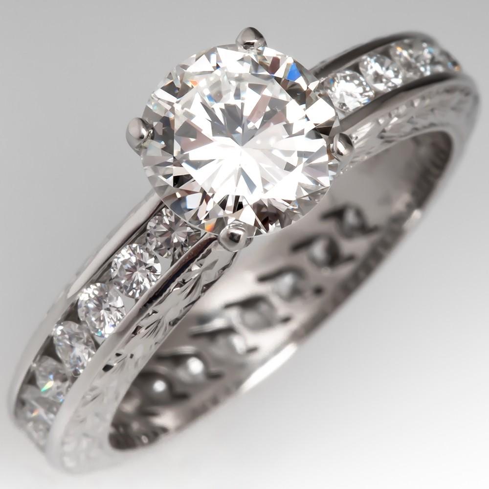 Varna 1 Carat Diamond Engagement Ring Eternity Band, Size 5.75