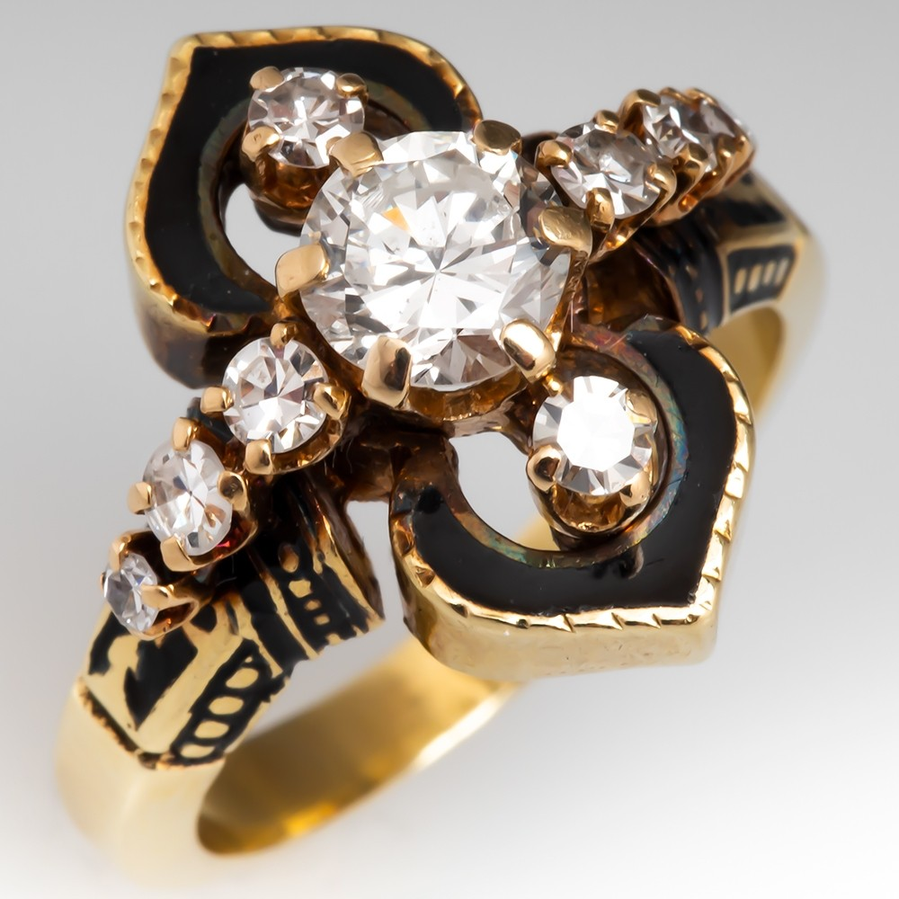 Vintage Diamond Ring w/ Black Enamel Details 14K Gold