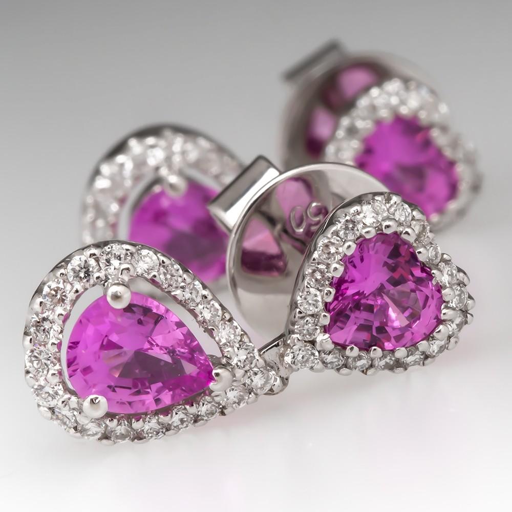 Spark Pink Sapphire & Diamond Dangle Earrings 18K White Gold