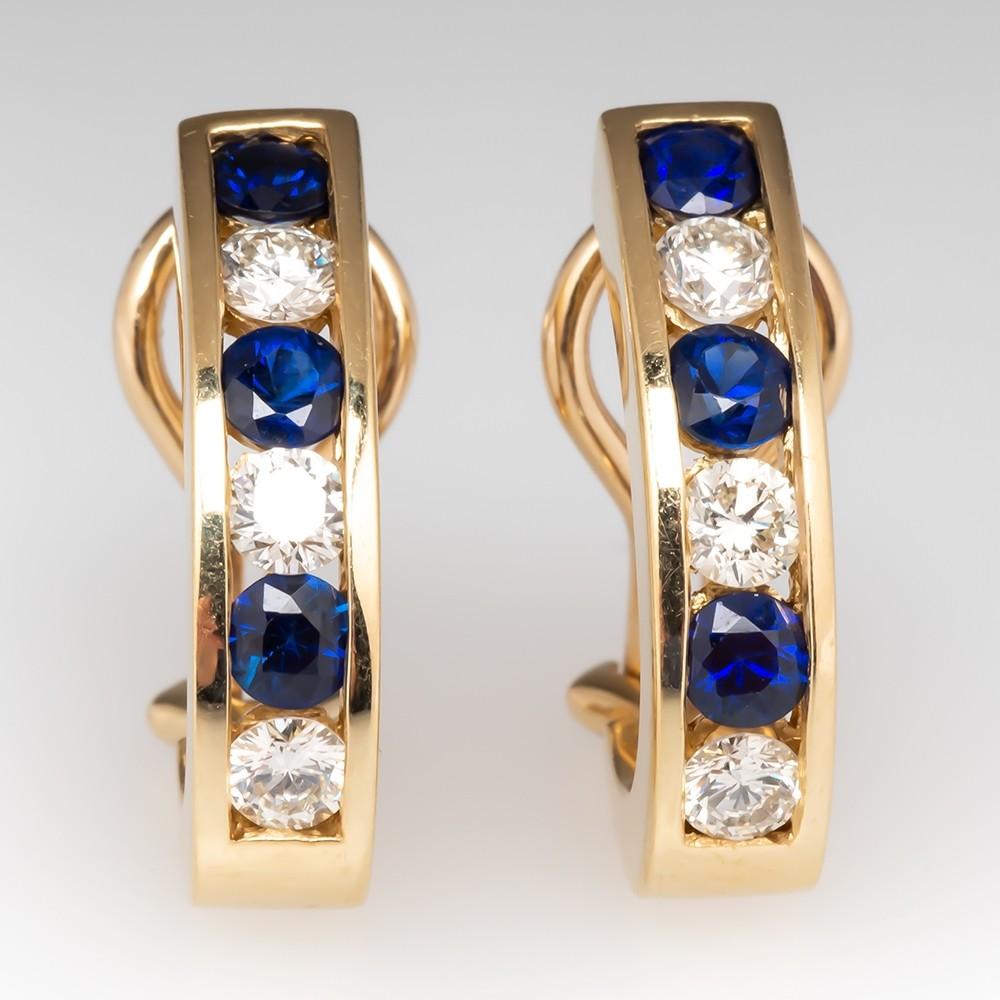 Blue Sapphire & Diamond Medium Size Huggie Earrings 14K Yellow Gold