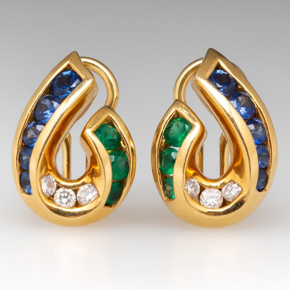 Krypell Sapphire Emerald Diamond Earrings 18K Gold