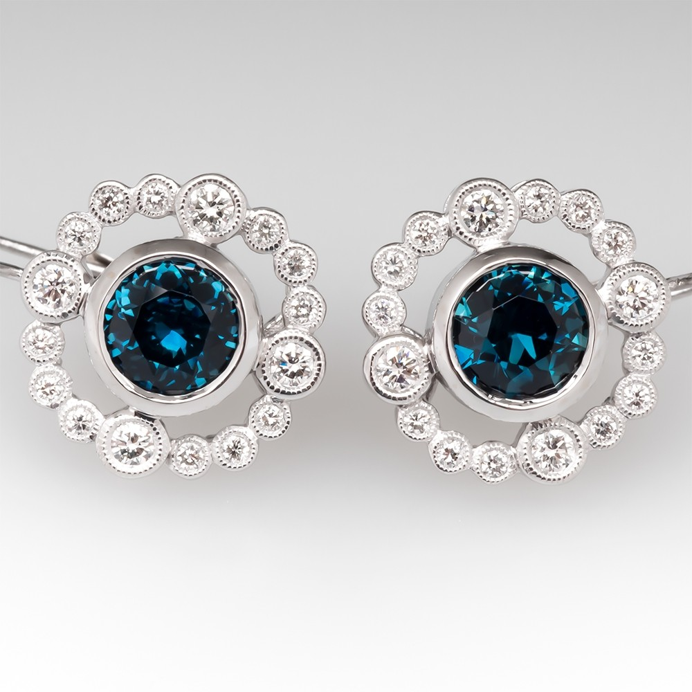 No Heat Teal Sapphire & Diamond Drop Earrings 14K White Gold