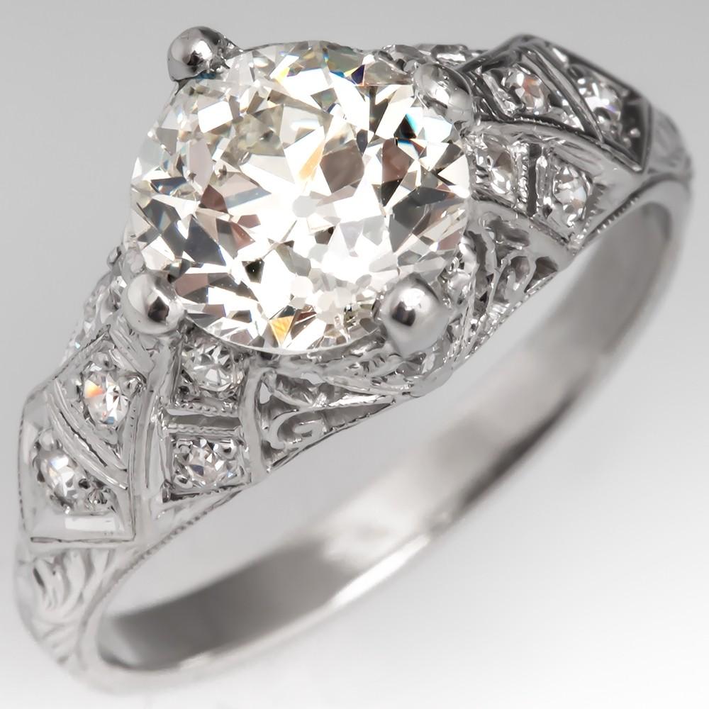 Filigree Art Deco Engagement Ring Old Euro Diamond GIA Cert