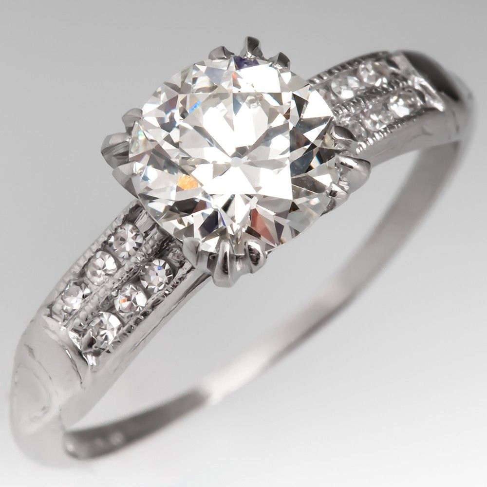 Elegant 1930's Old European Cut Diamond Engagement Ring Platinum GIA