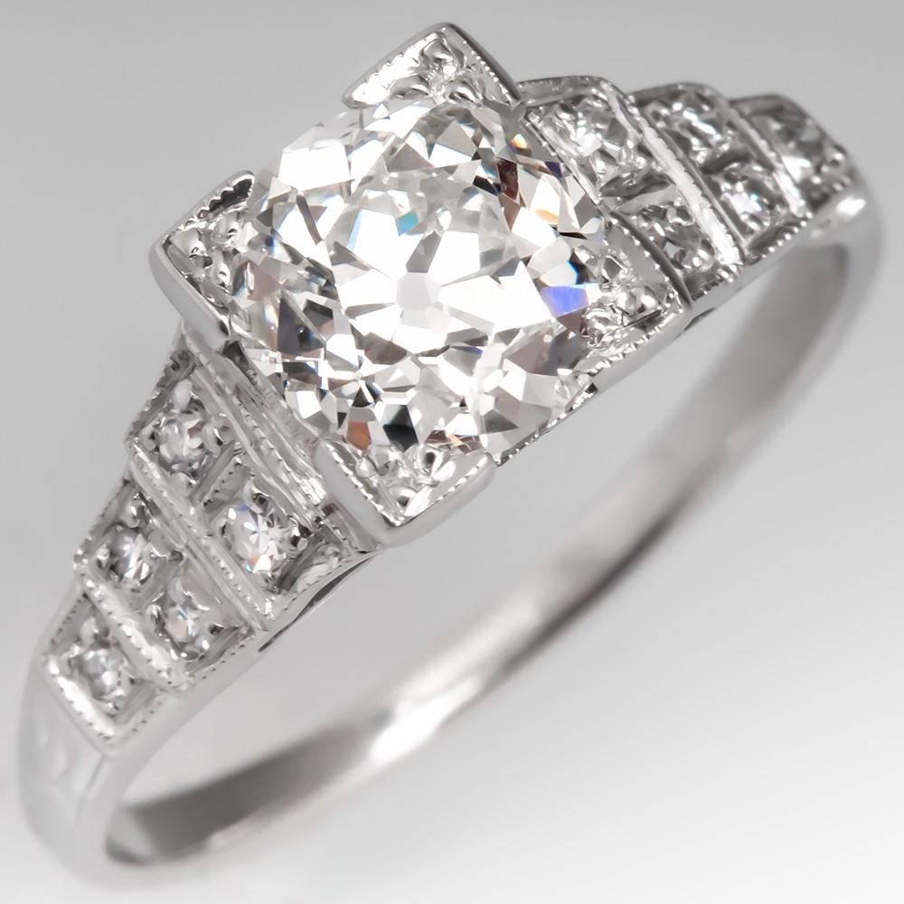 1930's Low Profile Antique Old Mine Cut Diamond Ring Platinum GIA