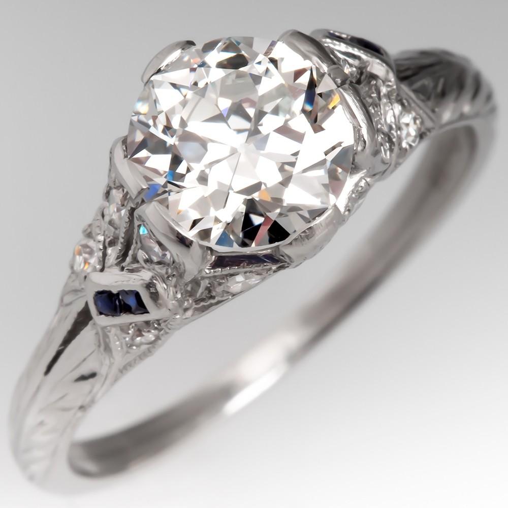 Beautiful 1920's Detailed Old European Cut Diamond Engagement Ring Platinum GIA