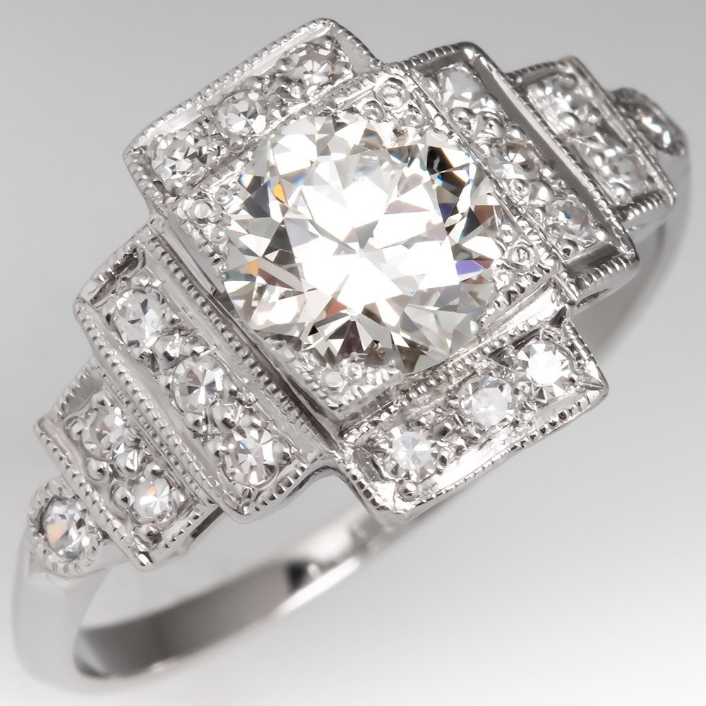 1 Carat Transitional Cut Diamond Art Deco Engagement Ring Platinum