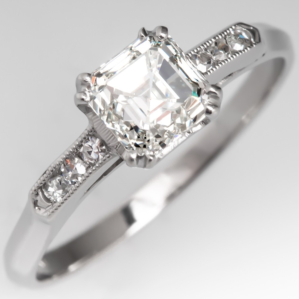 GIA 1 Carat Antique Asscher Cut Diamond Engagement Ring Platinum