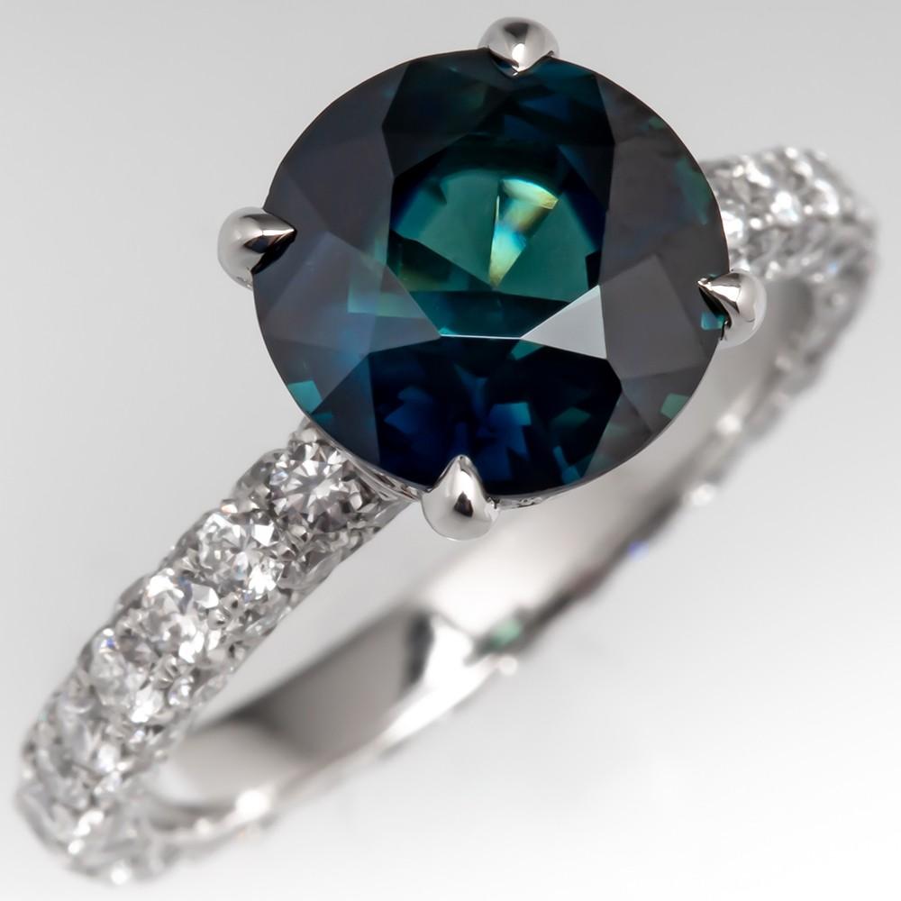 No Heat 2 Carat Dark Green-Blue Sapphire Engagement Ring, Size 4 5/8